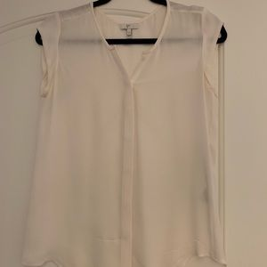 Joie white silk button down blouse